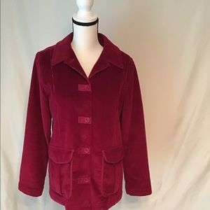 L.L. Bean Raspberry red corduroy barn coat